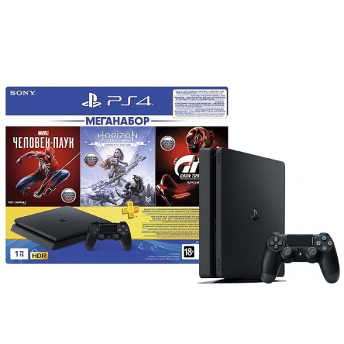 PlayStation 4 Slim 1TB (PCT 2208B) + Horizon Zero Dawn + Spider-Man + Gran Turosmo Sport [Playstation 4]